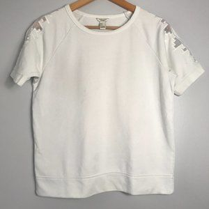 Forever 21 White Crewneck Tee with Sleeve Deco